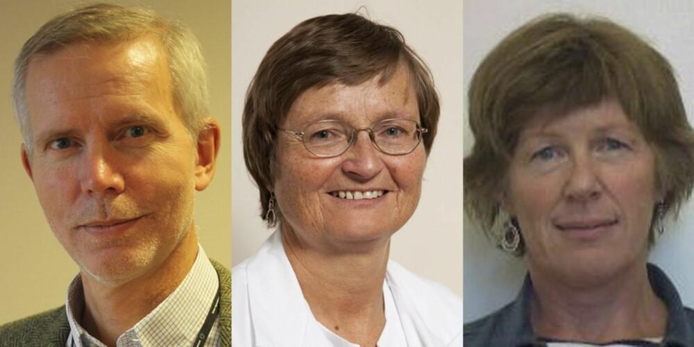 SMERTEEKSPERTER: F.v. Overlege Morten Finckenhagen i Statens Legemiddelverk. Hilde Berner Hammer, assisterende avdelingsoverlege ved revmatologisk avdeling, Diakonhjemmet sykehus. Kari Furu, leder av Bivirkningsnemnda.