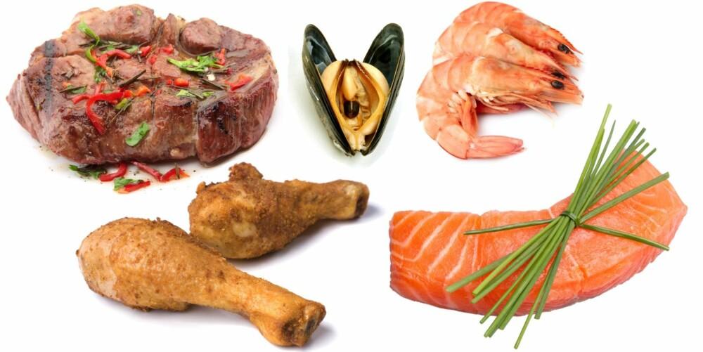 BAKTERIER I MAT: Fisk er stort sett trygg mat, blåskjell bør spises med en gang etter servering, kylling må alltid være gjennomstekt og biffen skal stekes på begge sider.