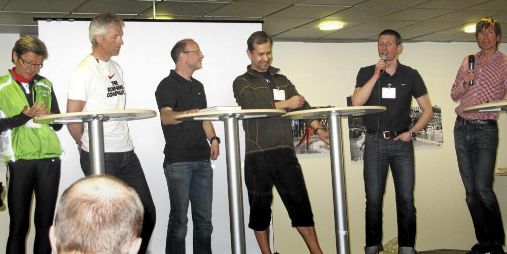 HOLMGANG: Samlet til debatt om løpesko. F.v. Ingrid Kristiansen, Håvard Nordgård, Tor Fauske, Henri Henell, Ronny Ingebrigtsen og Kjetil Rolness.