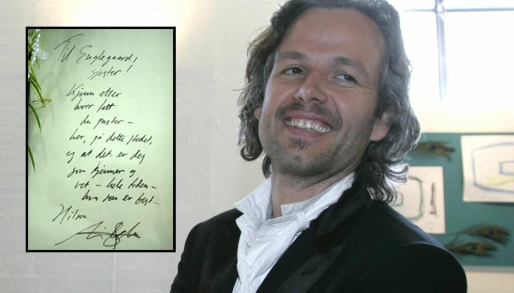 Ari Behn og hans hilsen til Englegaard (innfelt)
