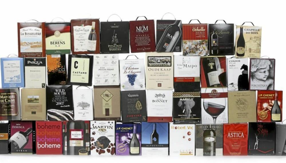 PAPP BEST? Er vin på papp bedre enn flaske. Klikk.nos vinekspert er sterkt i tvil.