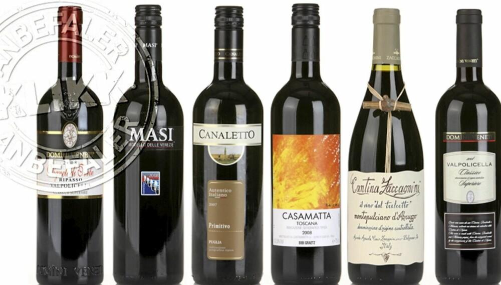 Ti mest solgte rødviner, Italia, fra 2009. Klikk mat.