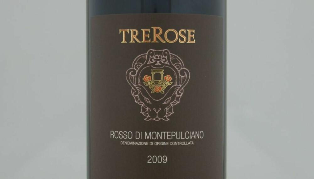 TOPP 10 RØDVIN: TreRose Rosso di Montepulciano 2009 er på delt syvendeplass.