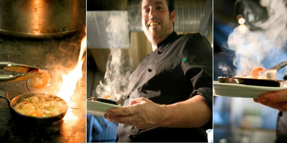 BLID KOKK: Kokken hos San Leandro, Jose Manuel Marmol, har alltid masse å gjøre - men er alltid like blid.