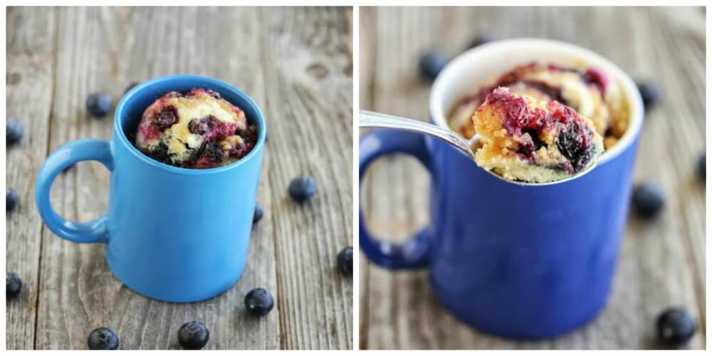 BLÅBÆRKAKE: Mikrobølgeovnkake med smak av ferske blåbær
