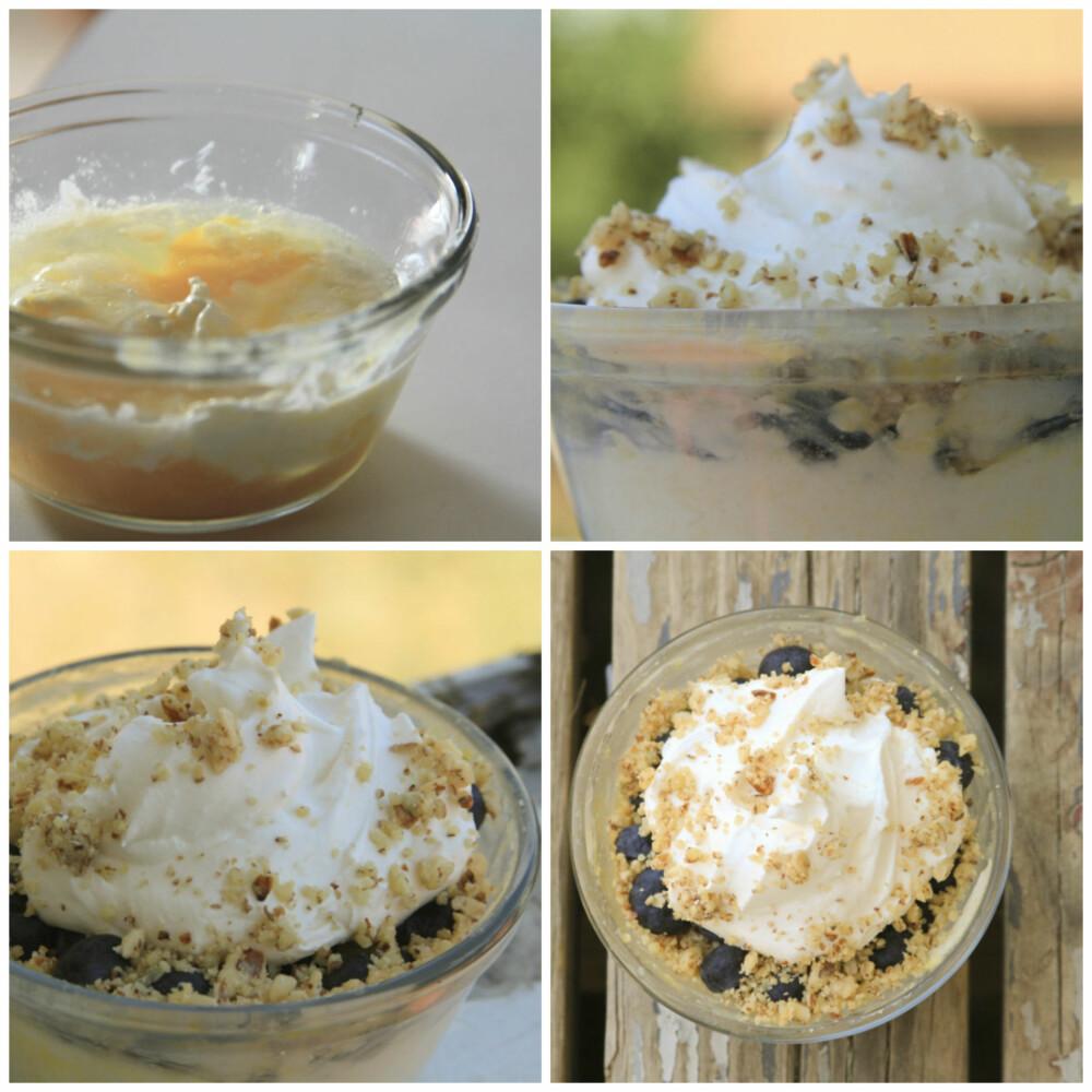 OSTEKAKE: Rett i koppen kake med ost, krem, bær og nøtter