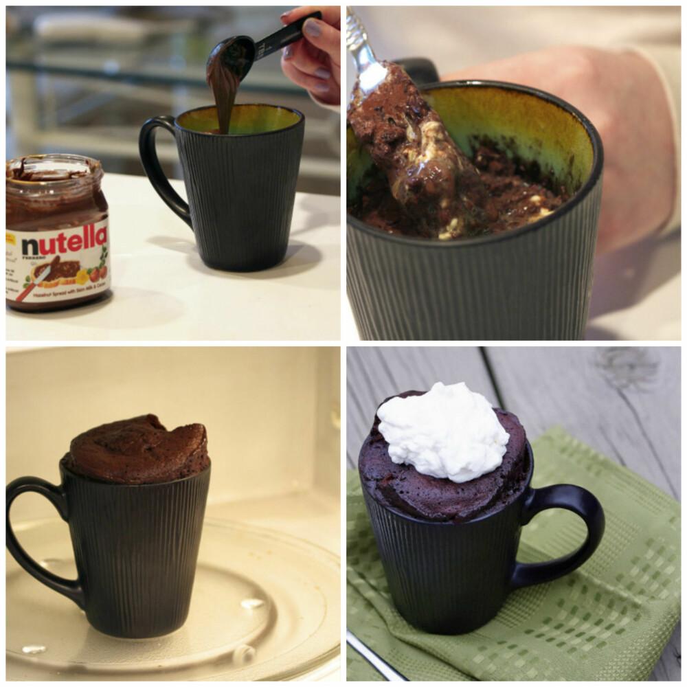 NUTELLAKAKE: Rett i koppen kake med smak av sjokolade