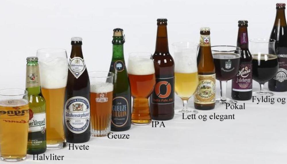 ØLGLASS: Vi valgte oss ut syv forskjellige øltyper og syv forskjellige ølglass, og testet alle 49 kombinasjonene.
