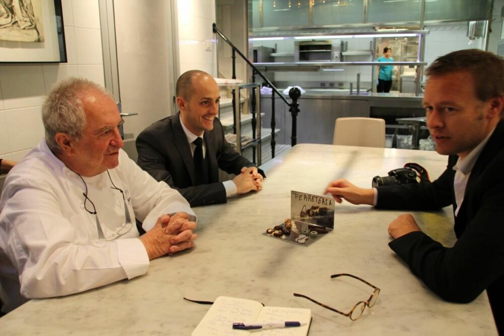 PÅ BAKROMMET MED ARZAK: Han har ikke dårlig tid, den godeste Juan Mari Arzak, når han snakker om mat - og særlig baskisk mat.