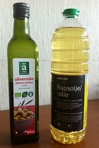 HOLDER MED TO: En raffinert rapsolje som passer til steking og en kaldpresset olivenolje til å bruke i maten er alt du trenger på kjøkkenet.