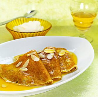 FRANSKE: Den mest berømte utgaven av franske crêpes er crêpes Suzette som flamberes med cognac.