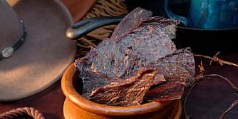 TØRKET KJØTT: Beef jerky er proviant for kraftanstrengelser, både på prærien og i den norske fjellheimen.