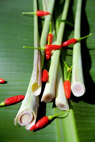 EKSOTISK TRIO: Strongress og små thaichili på bananblad.