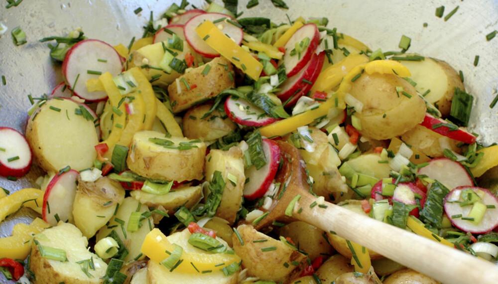 Potetsalat kan være så mangt. I denne er det brukt andre grønnsaker og asiatisk-inspirerte smaker.
