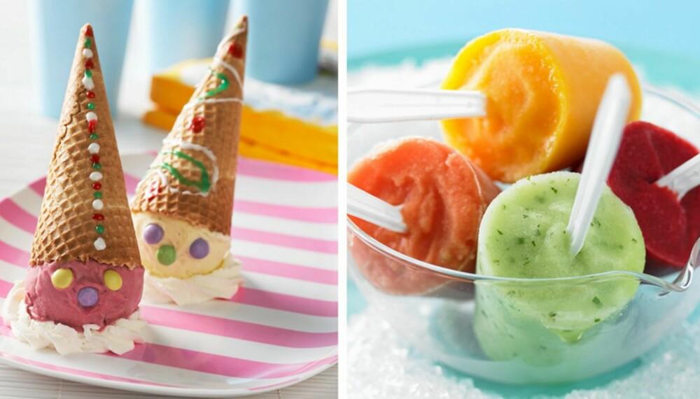 TA DET KULI: Iskremklovner med Nonstop og marengs - eller fruktis av mango, grønn melon, bringebær og jordbær?
