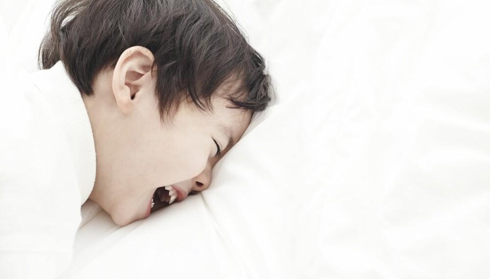 NATTSKREKK HOS BARN: Forklares som en aktivering av deler av hjernen under søvn som blant annet innebefatter områder som styrer bevegelser og følelser. Selv om barnet sitter i sengen og hyler, er det likevel i dyp søvn, og det er ikke mulig å få god kontakt eller normal respons fra barnet. Foto: Gettyimages.