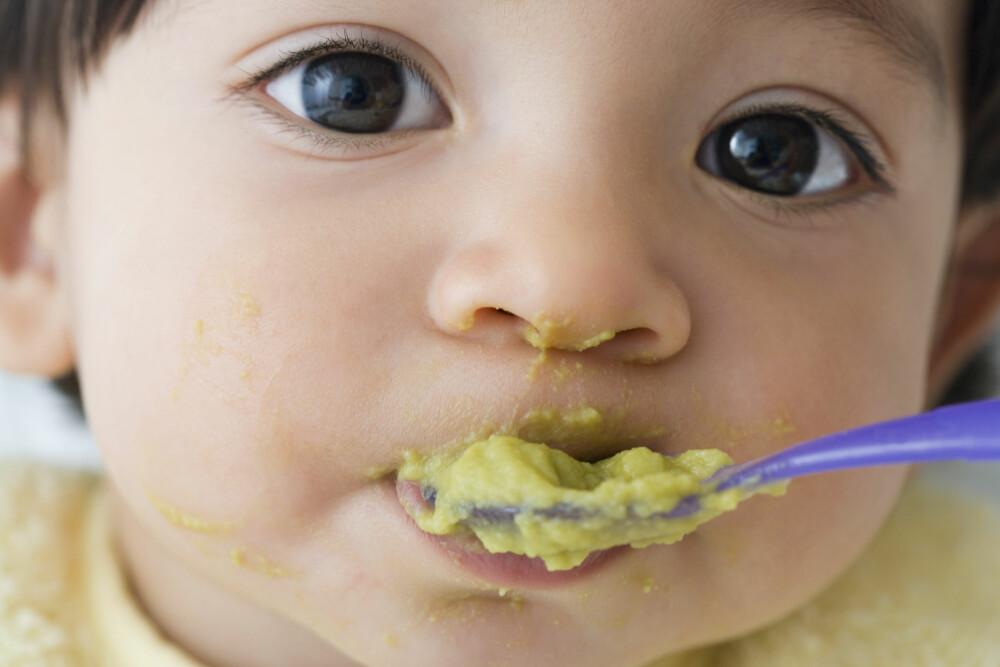 FRA MELK TIL FAST FØDE: Gi babyen smaksprøver på forskjellige typer mat fra det er seks måneder gammelt.
