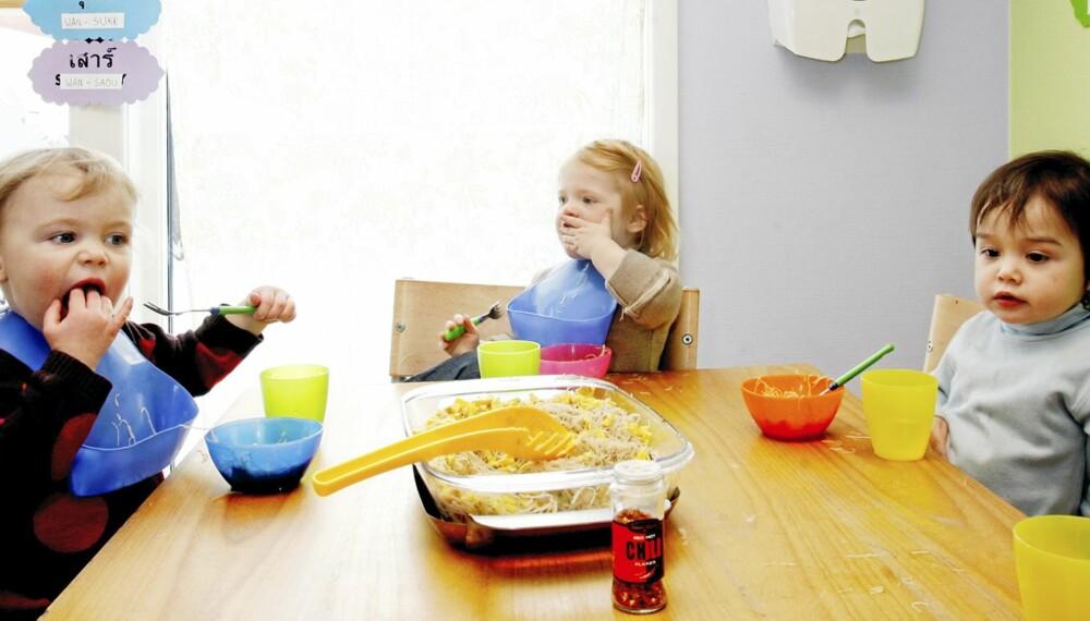 STERKT: Tuva, Milla, Nicolay (alle 2) og de andre barna i Sawat Dee barnehage i Oslo er vant til mat med krydder.