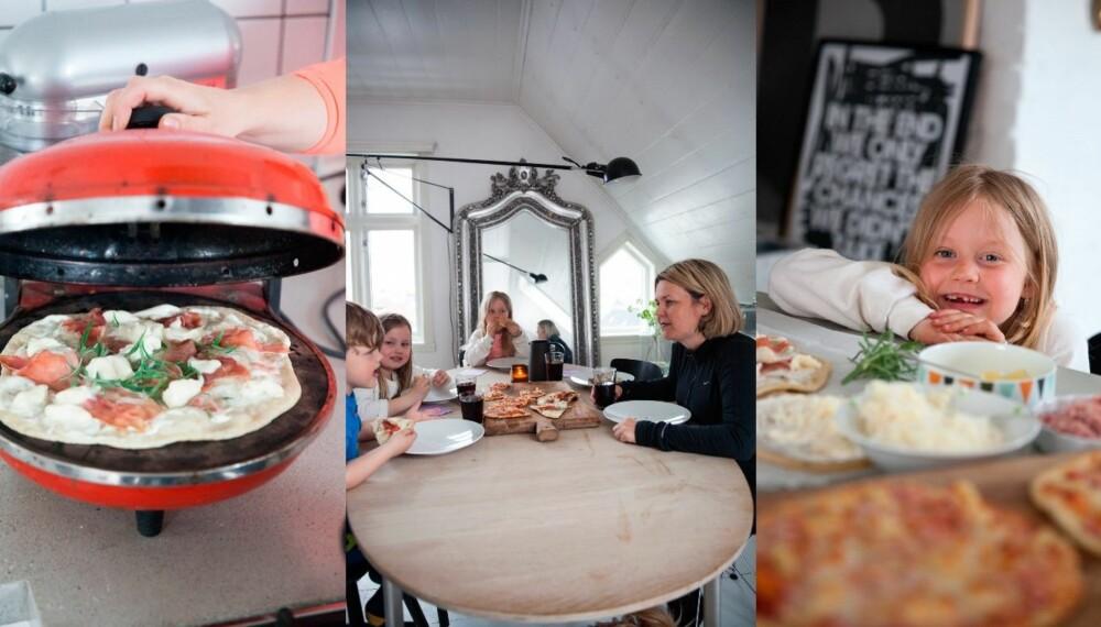 PIZZA BARN LIKER: Sett av tid til å lage pizza sammen, og bruk tiden rundt bordet til å snakke sammen om hvordan dere har det. Foto: Per Olav Sølvberg.