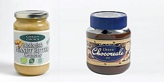 """SUNT FETT: Peanøttsmør fra """"Green Choice"""" og sjokoladepålegget Choco Chocoreale."""