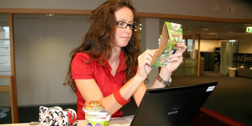LEGGER INN DATA: Ernæringsrådgiver Lise von Krogh har sett på næringsinnholdet i barneyoghurt, og vurdert mengden karbohydrater, det vil si sukker i dem.