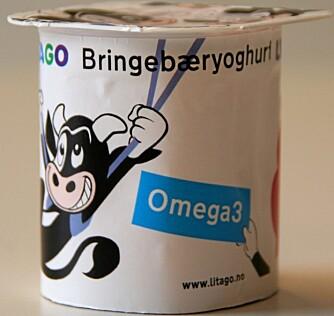 MIDT PÅ TREET: Litago bringebæryoghurt med Omega 3.