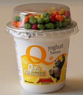 TESTENS TAPER: Q-yoghurt med banan inneholder 16,8 gram sukker per 100 gram yoghurt.