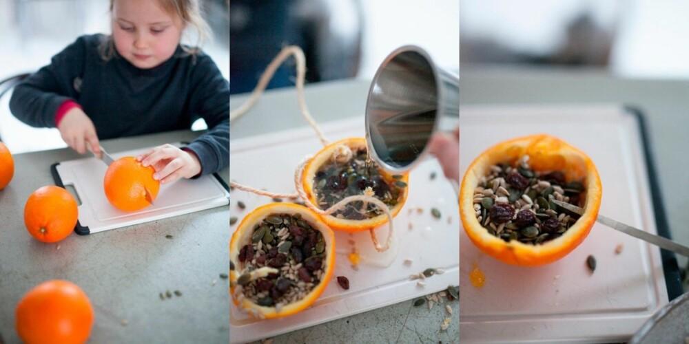 LAGE FUGLEMAT MED BARN: Å la barna få lage fuglemat er gøy! La barnet dele appelsinen i 2 like deler, og skrap ut fruktkjøttet med en skje.