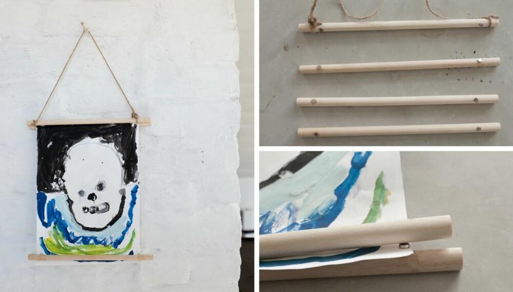 OPP PÅ VEGGEN: Verdens enkleste kunstramme lager dere enkelt selv - så kan barnas kunst pryde veggene hjemme (i stedet for bunnen av skuffene).