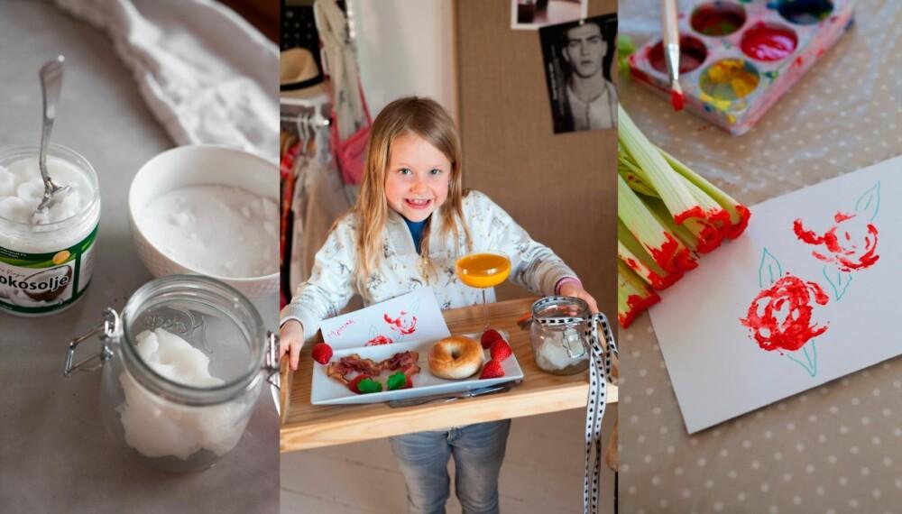 FEIRING AV MORSDAG: En sukkerskrubb, frokost på sengen og et hjemmelaget kort gjør susen når mor skal feires.