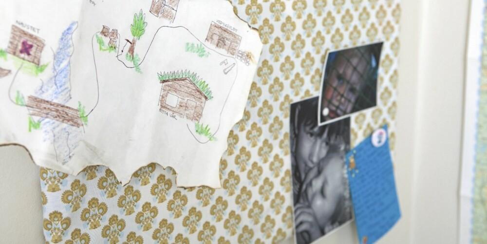 OPPSLAGSTAVLE: Det samme mønsteret går også igjen på bilderammen og på puta. FOTO: Bjørg Hexeberg Staveli.