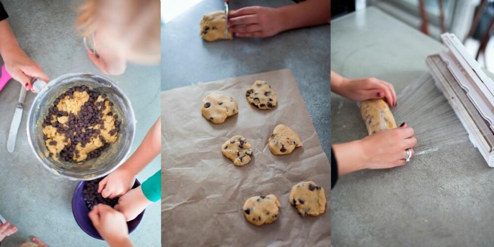 DEIG I FRYSEREN: Stek halvparten av deigen til cookies med det samme, og legg resten av deigen i fryseren. Foto: Per Olav Sølvberg.