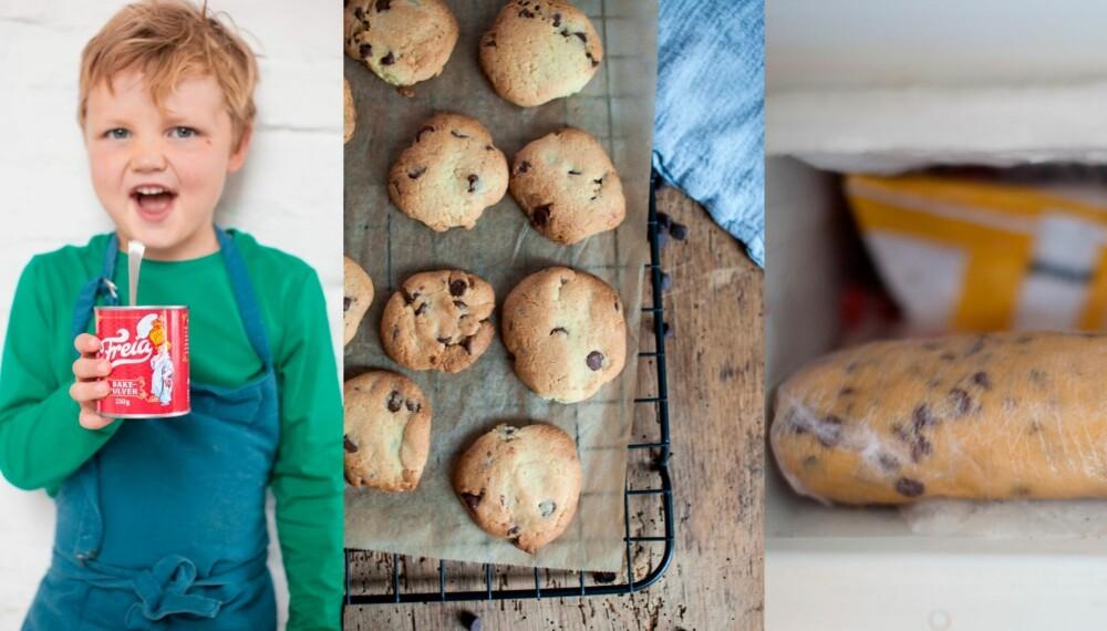 SJOKOLADE-COOKIES: Disse supergode småkakene klarer barna å lage nesten helt selv. Og deigen er stor nok til at du kan legge halvparten i fryseren til du får uventet besøk. Foto: Per Olav Sølvberg.