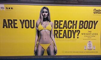 """STORE PROTESTER: """"Er kroppen din klar for stranden?"""" spør produsenten av vektnedgangspulver. Se hva Londons kvinner har svart. FOTO: Twitter/Twitpic/Faksimile"""