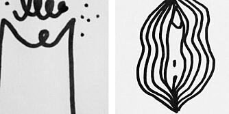 PÅ INSTAGRAM: Studievenninnene Astrid Holm, Beatrice Blom og Linnéa Gardefjord oppfordrer til å tegne det kvinnelige kjønnet på dovegger, ta bilde av det og laste det opp på Instagram.