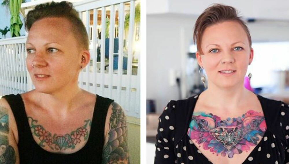 FØR OG ETTER: Tove Åsum Forwalds coverup - en ny tatovering dekker over den gamle. FOTO: Privat.