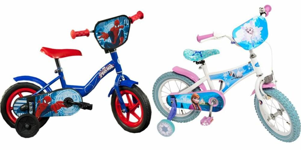 TØFF OG PEN: Guttene får sykle på  tøff Spiderman-sykkel, mens for jentene er det prinsesser og sarte farger som råder. FOTO: Toys'R'Us