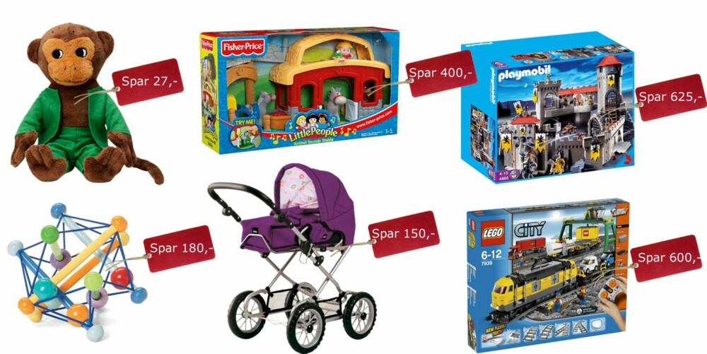 BARNA: Herr Nilsson kosedyr, veil pris, 90,-, Toysrus.no, 63,-, Fisher Price stall med lyder, veil pris 749,-, Toysrus.no, 349,-, Playmobil Knights, veil pris, 1949,-, Pixmania.no, 1324,-, Skwish rangleleke, veil pris, 279,-, Ebay.com, 100,-. Brio dukkevogn, veil pris, 649,-, Toysrus.no, 499,-. Lego City, veil pris 1699,-, Lekmer.no, 1099,-