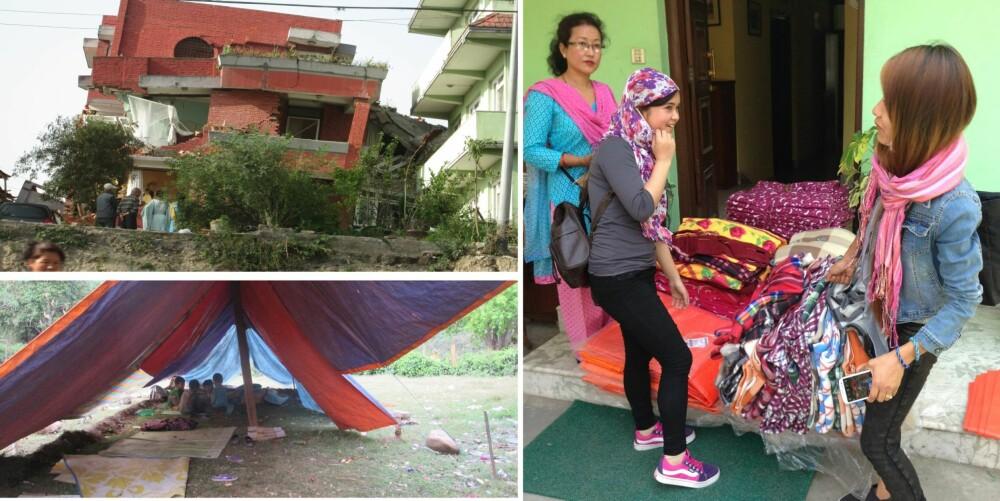 ETTER JORDSKJELVET: Slik er situasjonen i Nepal etter skjelvet. Sammenraste bygninger, folk som bor i telt/under presenninger og frivillige som deler ut varme klær og tepper.