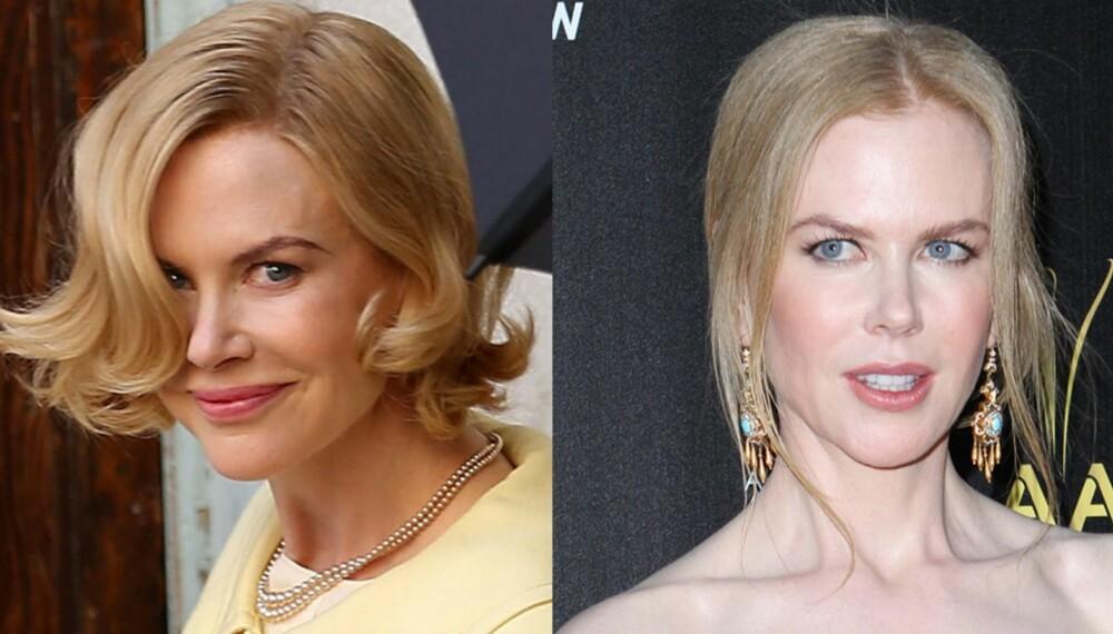 RIKTIG OG GALT: På bildet til venstre har Nicole Kidman rett sminke til våren.