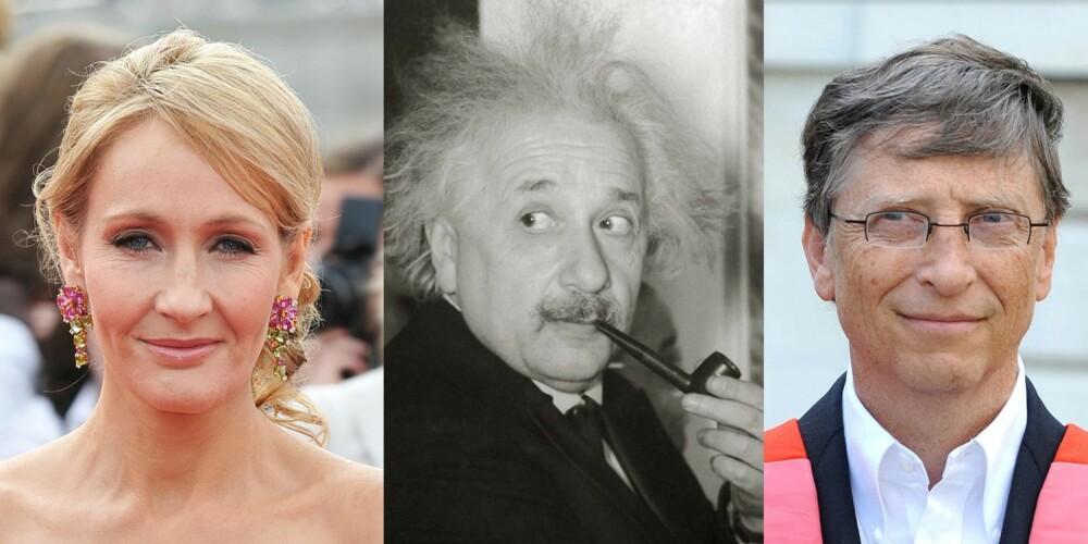 INTROVERTE: Både J.K. Rowling, Einstein og Bill Gates regnes som introverte.