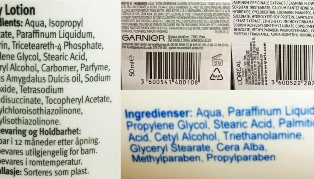 KAN TRIGGE ALLERGISK REAKSJON: Din hudtype kan avgjøre hvilke produkter du bør unngå i hudpleien. Typiske ingredienser som finnes i mange produkter, og som kan skape allergiske reaksjoner av ulik grad, er mineralolje, lanolin, isopropyl alkohol, acrylater og ulike typer parabener.