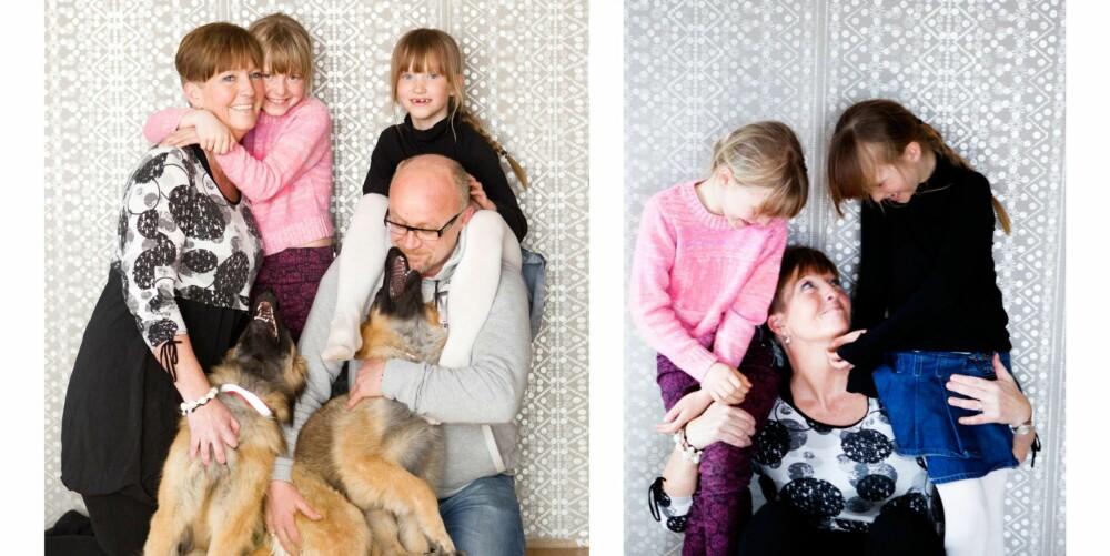 FAMILIEN: Irene med to av fire døtre, Emilia og Hedda, og ektemannen Arnt-Ove hjemme i Mosjøen. - Jeg har en fantastisk mann, som har levd med meg i alle disse ulike fasene. Jeg er stolt av å være gift med ham, sier Irene.