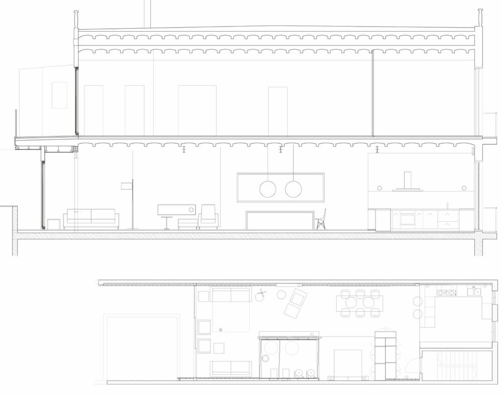 PLANTEGNING: Den lange og smale leiligheten har fått en annerledes, men funksjonell løsning.