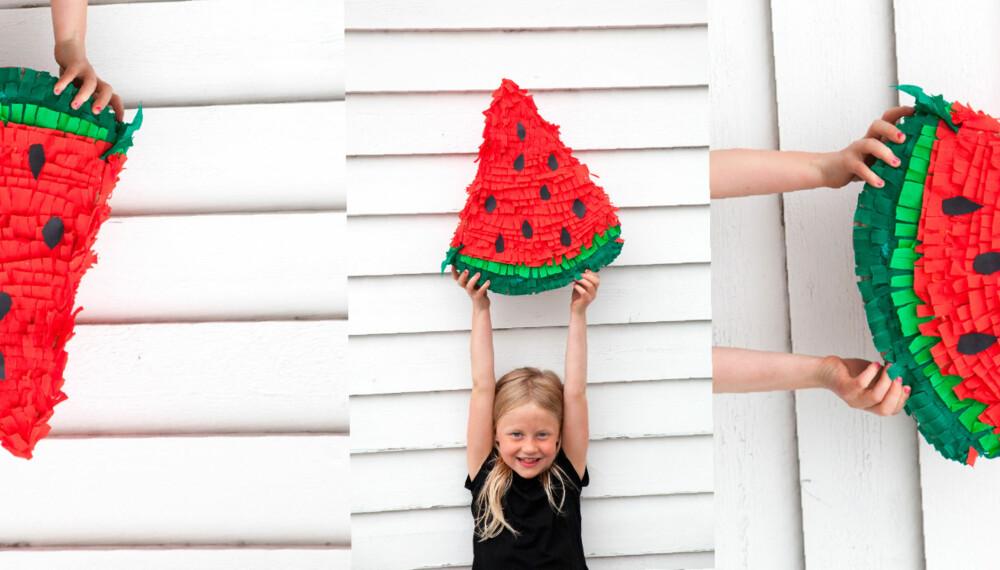 PINATA: En vannmelon av pinata er enkelt å lage. - Det tok bare en halvtime, sier Filippa.