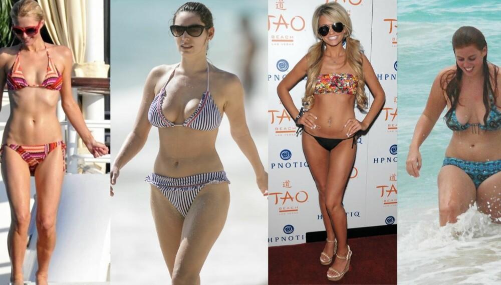 STRANDLIV: Paris Hilton, Kelly Brook, Angel Porrino og prinsesse Beatrice av York har alle forskjellig kroppsfasong, som krever ulikt badetøy.