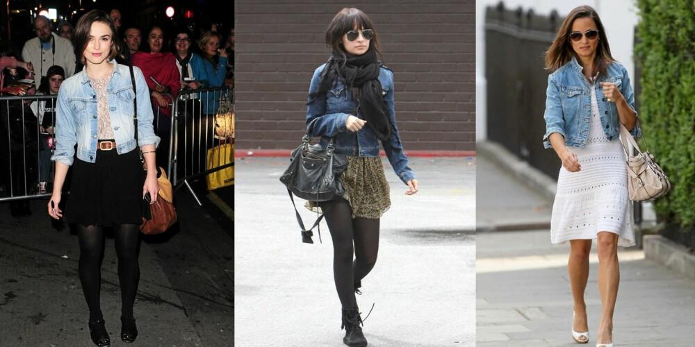 KJENDISFAVORITT: Kiera Knightly, Nicole Richie og Pippa Middleton har ulik stil, men alle tre er ofte å se i denimjakke.