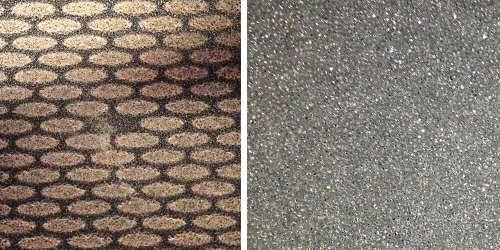 FØR OG ETTER: Det samler seg mye stekefett i filteret på kjøkkenvifta. Slik ser filteret ut før og etter en vask.
