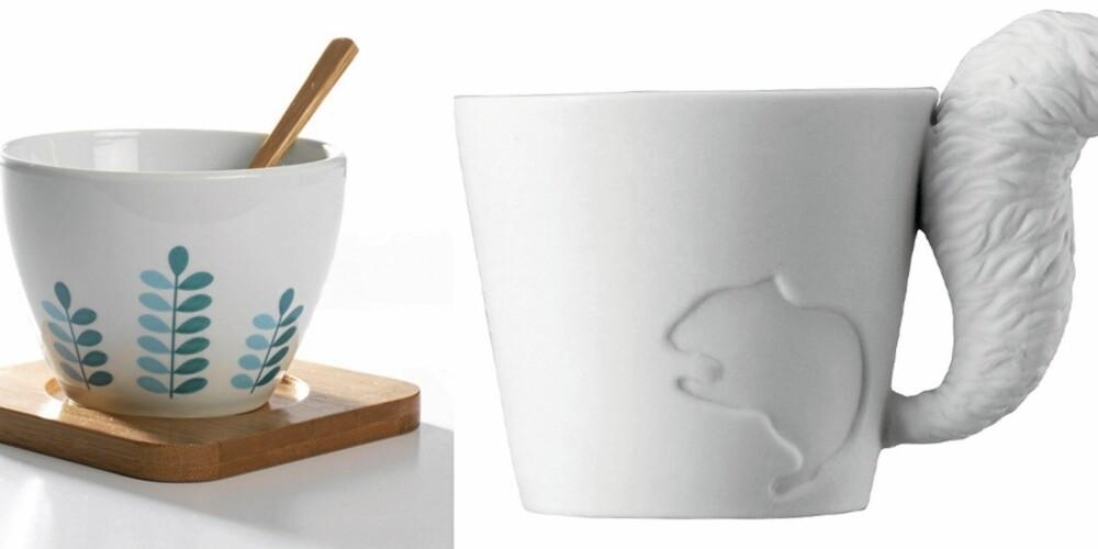 TOPP KOPP: Favorittbrygget fortjener en fin kopp. 5. Kopp designet av norske Marlene M. Kjøp hos Pur Norsk. 6. Søte kopper fra Mugtail med hale på!