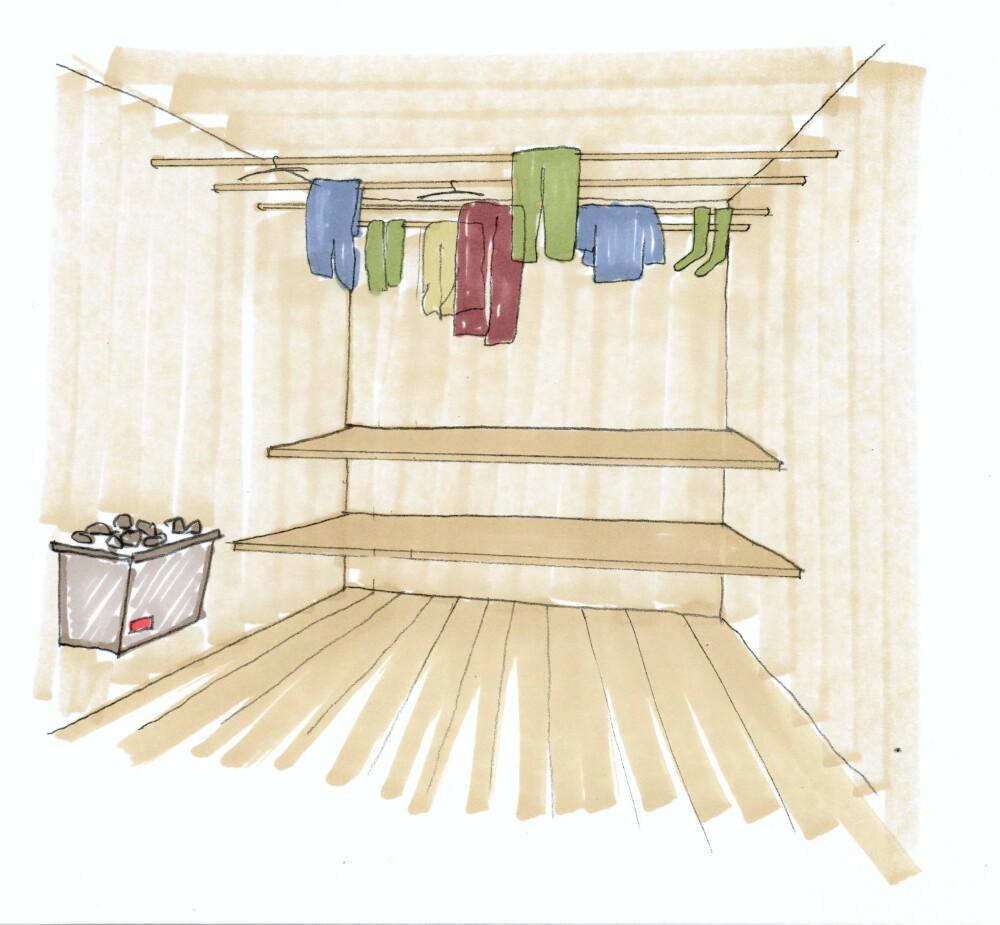 SMART UTNYTTELSE: Har du badstue på hytta, kan du kombinere den med klestørk. Du kan for eksempel montere rundstokker høyt oppe på veggene. Tegning: Kine Dyvi